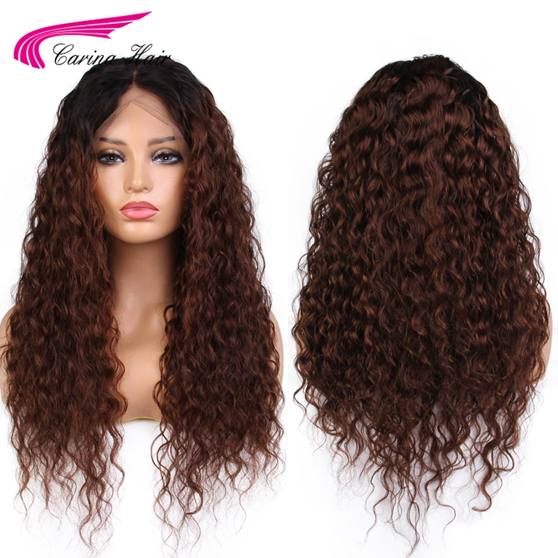 Carina Ombre Color 360 Lace Front Wigs With Baby Hair Brazilian Kinky Curly Remy Human Hair Wigs Pre Plucked Bleached Knots