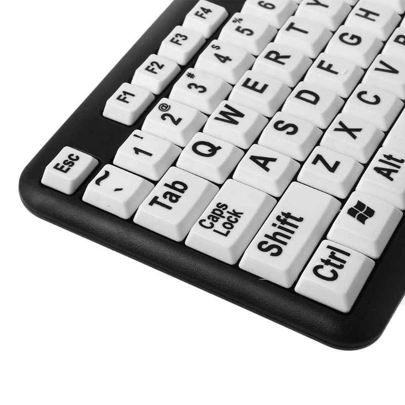 USB Wired PC Game Gaming Keyboard Large Print White Keys Black Letter for Old