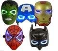 Free Ship 5PCS/Lot LED Glowing Lighting Mask Captain America Spiderman Hulk Iron man Batman Figures Party Halloween Cosplay Mask