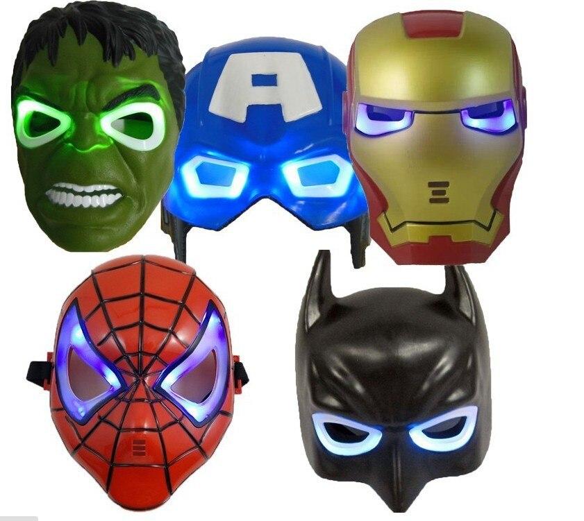 librez le bateau 5 pcslot led glowing clairage masque captain america spiderman hulk iron