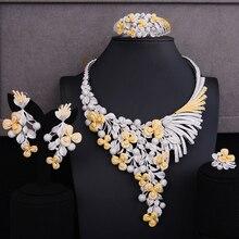SisCathy 4pc Big Statement Flower Jewelry sets For Women Luxury Cubic Zircon CZ African Dubai Wedding Bridal Jewelry Sets 2019 цены
