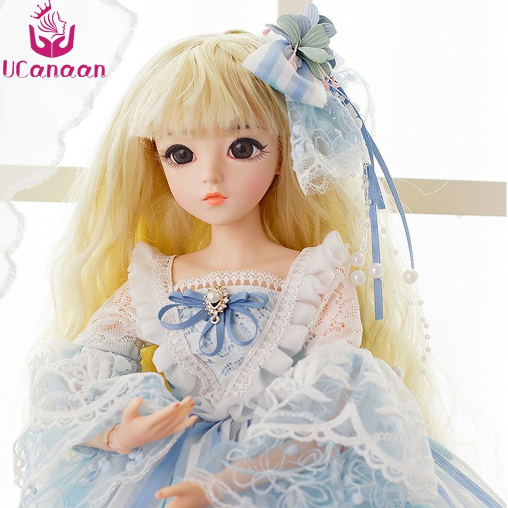 UCanaan 60CM Large BJD Doll High-end Handmade BJD Clothes Shoes Wig And Makeup Girl BJD Dolls 1/3 SD Doll Best Gift For Girls 60cm bjd 1 3 dolls 23 inches handmade fuyao baiqian huaqiangu doll large joint sd princess doll girls toys birthday gift