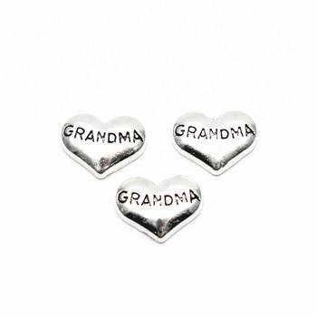 Лидер продаж 10 шт./лот Металл Любовь Сердце для бабушки воздушной прелести для стеклянные парящие Медальоны кулон Цепочки и ожерелья, сдела...