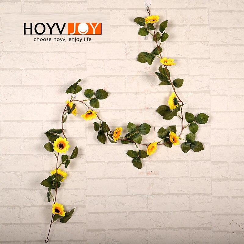 Sunflower Ivy Vine Artificial Flower and Green Leaf Plant Garland Garden Fence House Wedding Decoration HOYVJOY