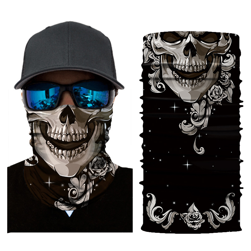2018 Fashion 3D Skull Magic Halloween Mask Men Digital Printing Sunscreen Scarf Masks Mask For Men And Women