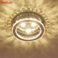 Lámparas de techo LED de cristal modernas, Lustre, plafón redondo de acero inoxidable para dormitorio, cocina y bar