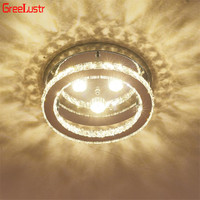 Modern Crystal LED Ceiling Lights Fixtures Lustre Stainless Steel Round Ceiling Lamp Plafon For Bedroom Kitchen barthroom
