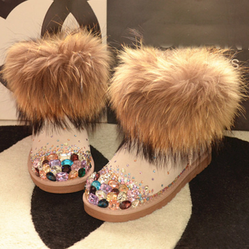 Free Shipping Handmade Rhinestone fashion crystal girl's kids bling bling fox fur Snow Boots children Boots warm Winter Shoes