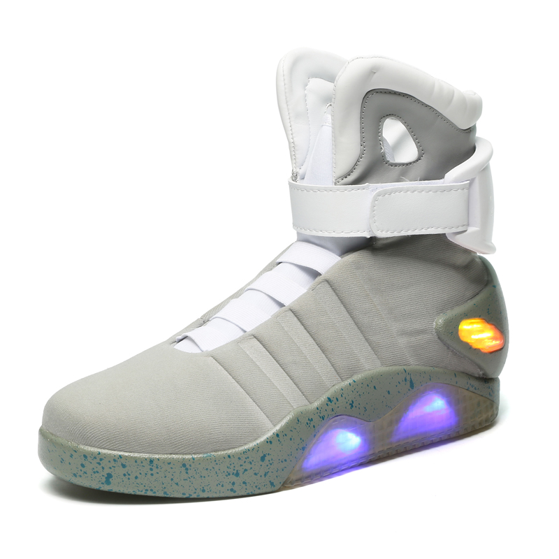 Back To The Future glowing sneakers Soldier Shoes Brand boots Men Limited Edition Led Luminous Light Up Classic Male Footwear joyyou brand usb children boys girls glowing luminous sneakers with light up led teenage kids shoes illuminate school footwear