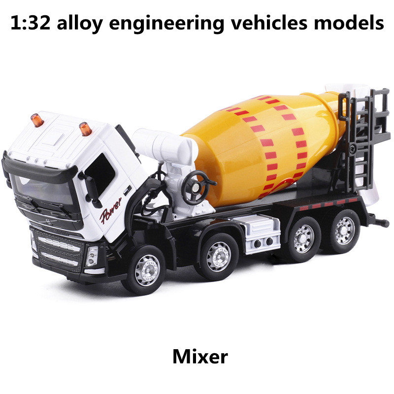 1:32 Alloy Engineering Vehicles Models, Pull Back &  Flashing & Musical,mixer Model,metal Diecasts,toy Vehicles,free Shipping