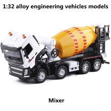1:32 liga modelos de veículos de engenharia, puxar para trás & piscando & musical, modelo misturador, metal diecasts, veículos de brinquedo, frete grátis
