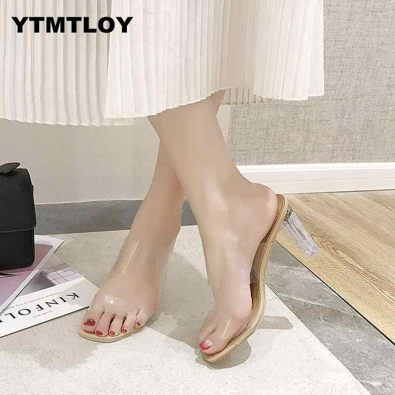 2019 HOT Clear Heels Slippers Women Sandals Summer Shoes Woman Transparent High Pumps Wedding Jelly Buty Damskie  High Heels