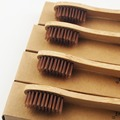 100 Unidades de Color Marrón 100% De Bambú Hecho de cerdas suaves Capitellum cepillo de Dientes cepillo de dientes de La Novedad De Madera De Bambú suave Fibra De Bambú Mango De Madera