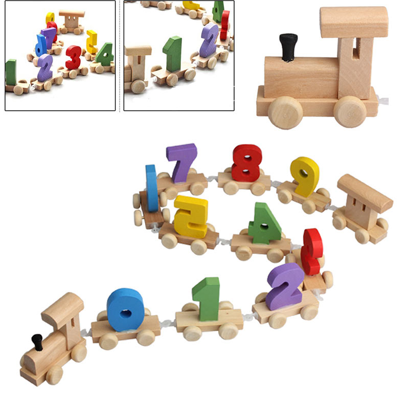 Digital Number Wooden Train Figures Railway Kids Wood Mini Toy Educational NSV775