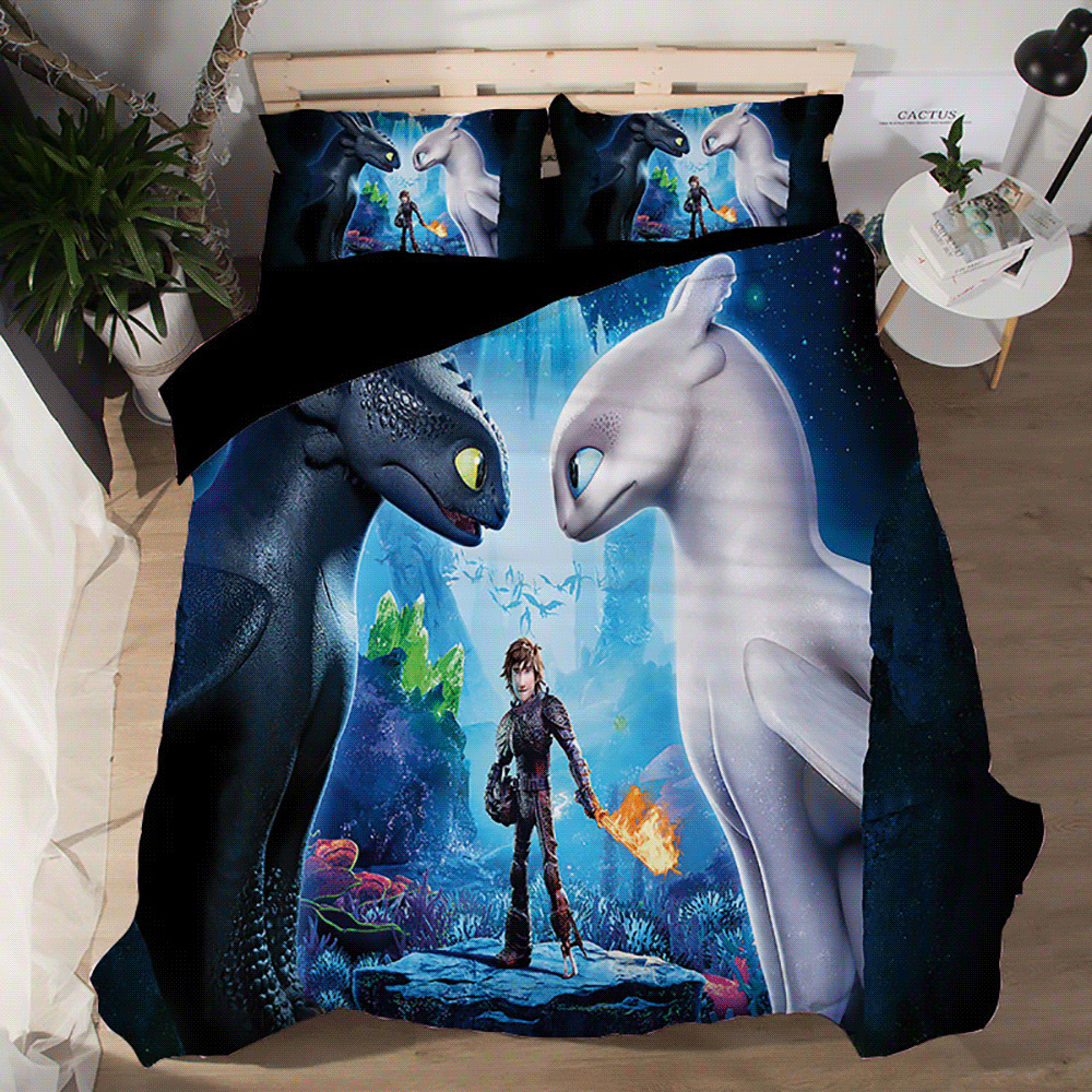 3D How to Train your Dragon Quilt Cover Bedding Set Kids Duvet Cover Pillowcases