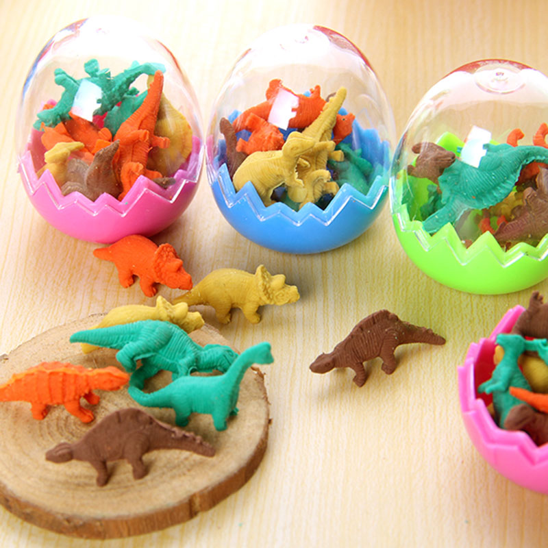 8x Creative Stationery Children Cute Cartoon Dinosaur Egg Eraser Primary School Prizes School Kawaii School Kawaii Gift