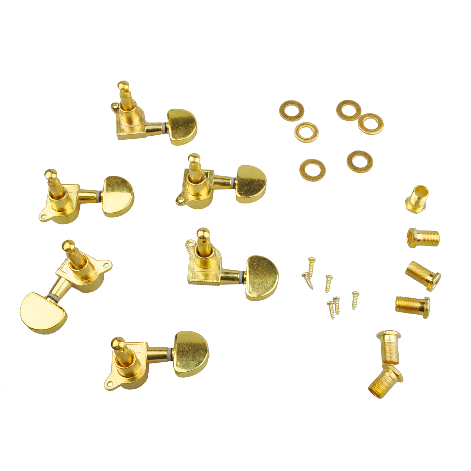 IRIN 3 Pairs Sealed Guitar String Tuning Pegs Tuners Machine Heads 3L + 3R Gold / Steel and Zinc Alloy Gold Guitar Heads