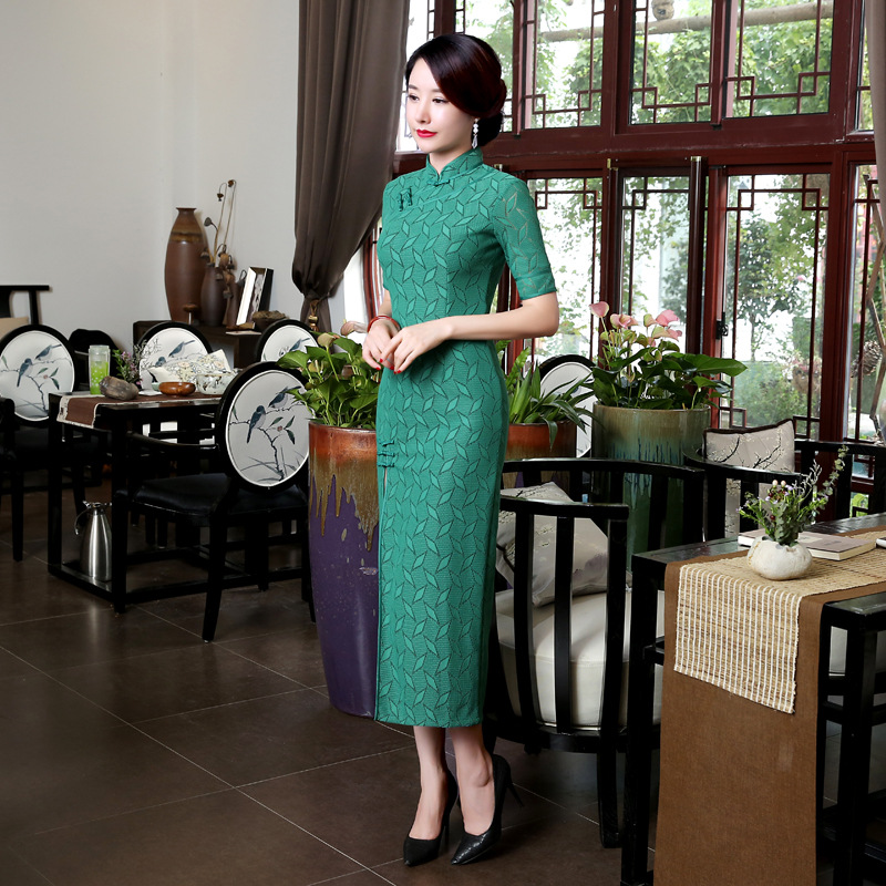 New green Vintage font b Women s b font Lace Long Cheongsam font b Fashion b