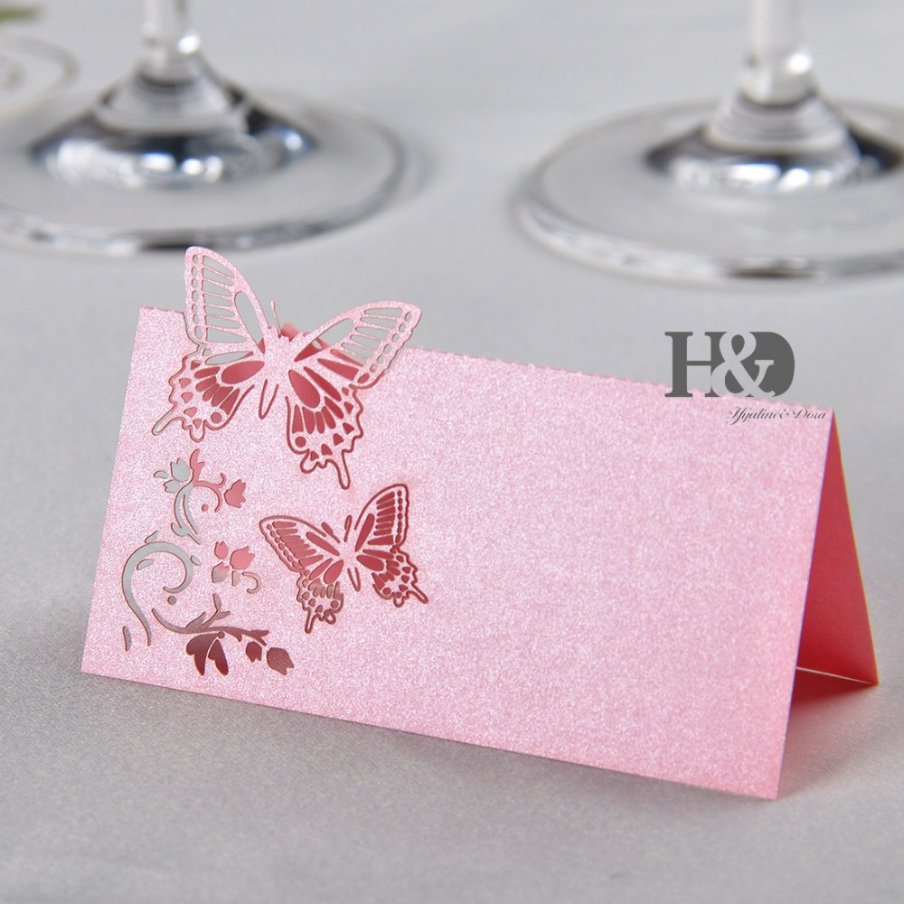Laser Cut Paper Butterfly cut out 60pcs/lot Name Place Card Glass ...