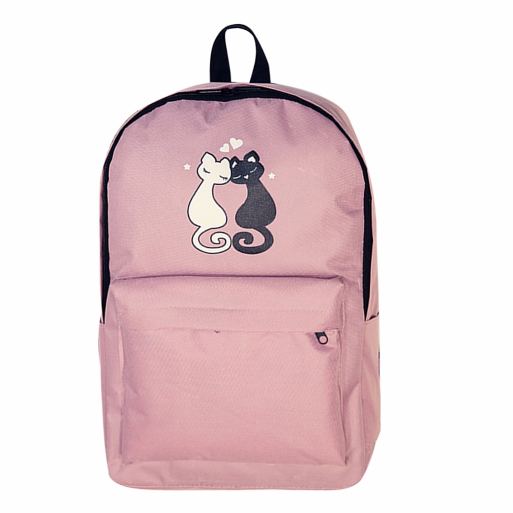 Fashion Women Backpack Waterproof Nylon Cute Cat Embroidery Mochila School bag Backpack for Teenager Girls Travel
