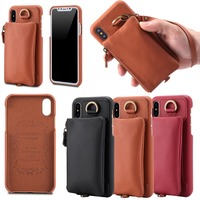 New Multi Functional Genuine Leather Cover For Apple Iphone X Case With Wallet Style Hand Strap