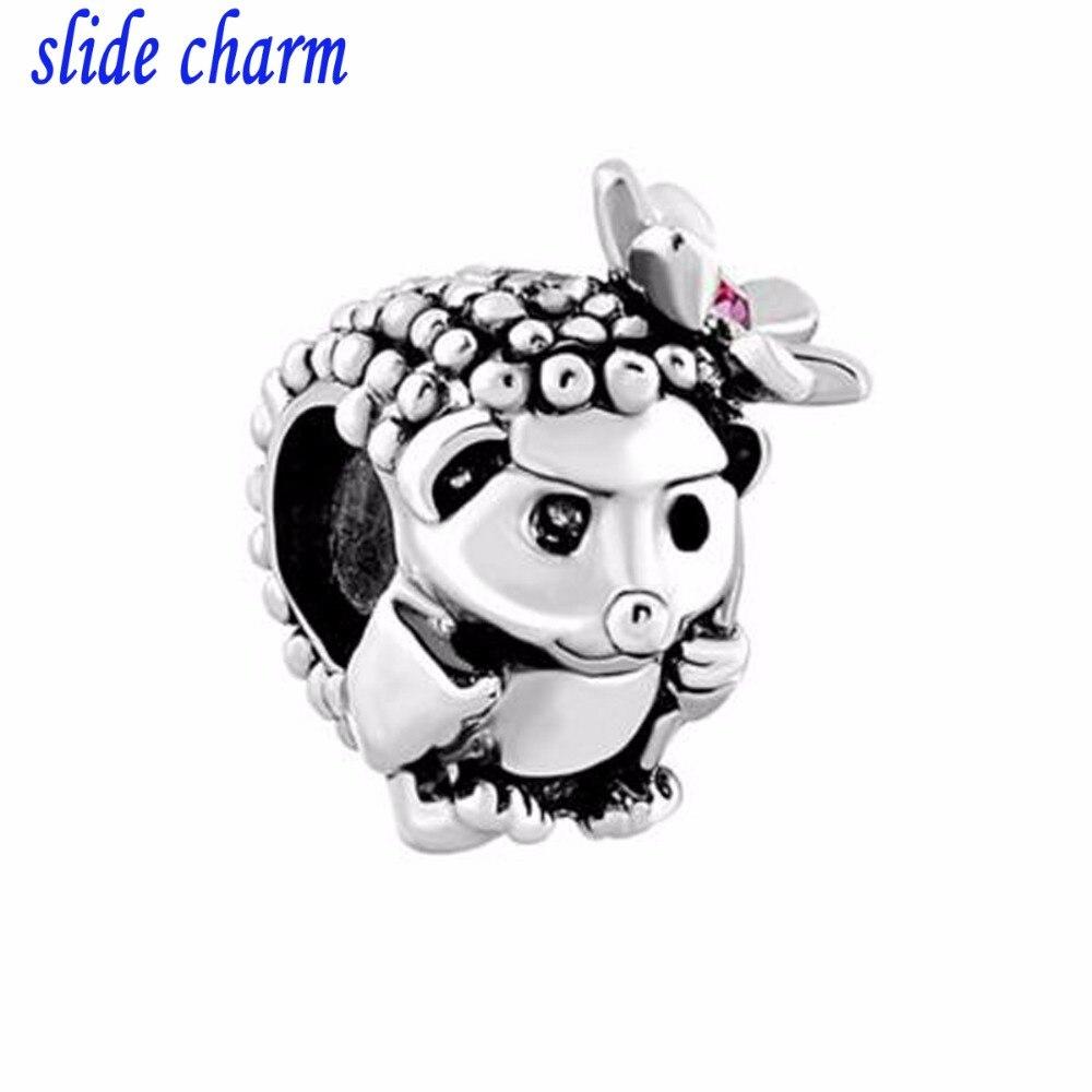 slide charm Free shipping pink rhinestone flower hedgehog animal charm beads fit Pandora bracelet mother lover Christmas gift