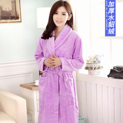 29ae4937ea 2017 Spring and autumn flannel pajamas women sexy towel robe tracksuit  female autumn and winter coral