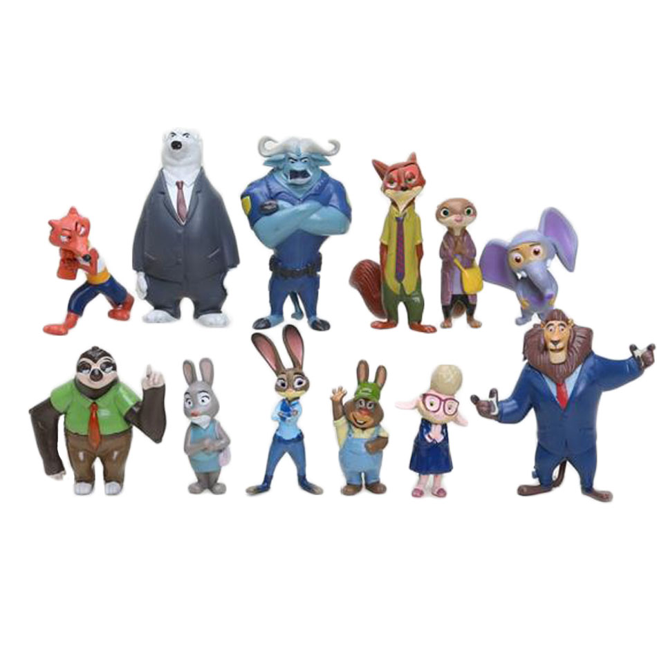 Zootopia 12pcs/set 6cm Zootropolis Judy Nick Flash Fox Rabbit Anime Mini Figures Decoration Collection Toys Kids Gifts Toys 1276 2016 zootopia figures keychain ring toys doll set 2016 new cartoon animal abbit judy hopps nick fox