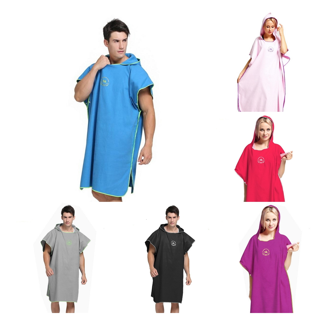 Unisex Mens Womens Surf Beach Swimming Poncho Wetsuit Changing Robe Towel & Hood For Swim Pool Kayak Kite Surf - Choose Colors