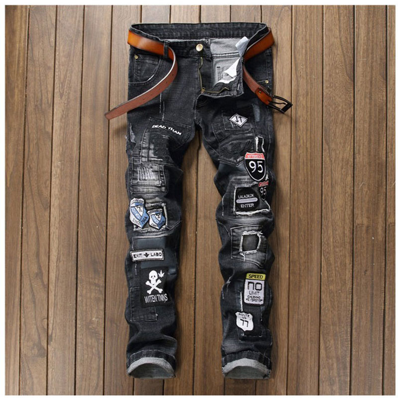 ФОТО New Men's Casual Spliced Ripped Biker Jeans Slim Fit Straight Denim Jeans Patchwork Hole Pants Motorcycle Long Trousers