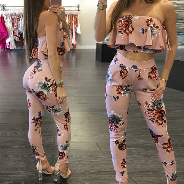 Pink Sexy Two Piece Club Outfits Women Short Crop Top And Pant Suits Ruffles Co-ord Set 2019 Summer Fashion Print Clothing