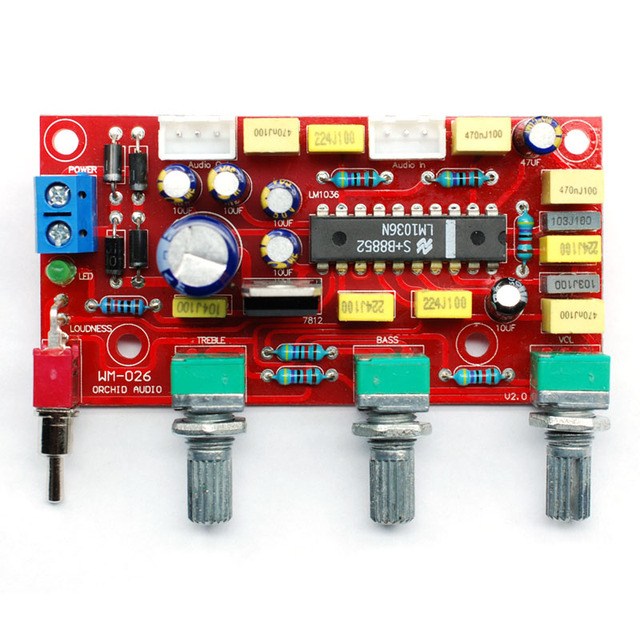 CIRMECH LM1036 OP-AMP HIFI Amplifier Preamplifier Volume Tone EQ Control Board DIY KIT and finished product