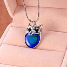 New Fashion 1 piece Color Change Cute Owl Pendant Necklace Mood Emotion Changeable Heart Enamel Necklace Jewelry Hight Quality