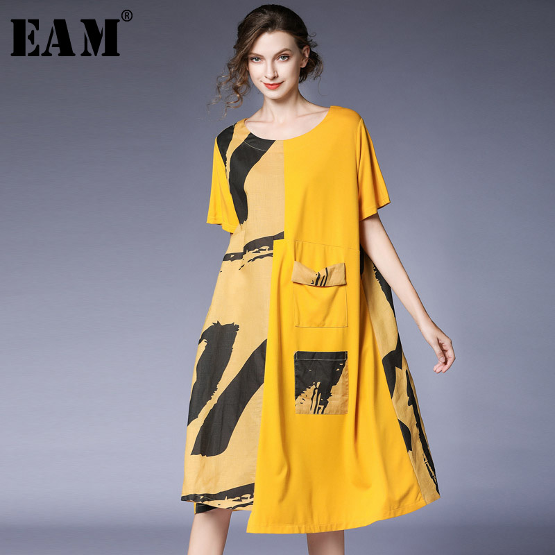 [EAM] 2019 nouveau printemps été col rond manches courtes motif imprimé poche point grande taille robe femmes mode marée JT920