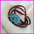 Free ship! 5pcs Fashion Druzy Bracelet, Wrap Bracelet, Braided Leather Bracelet, Druzy Wrap Bracelet