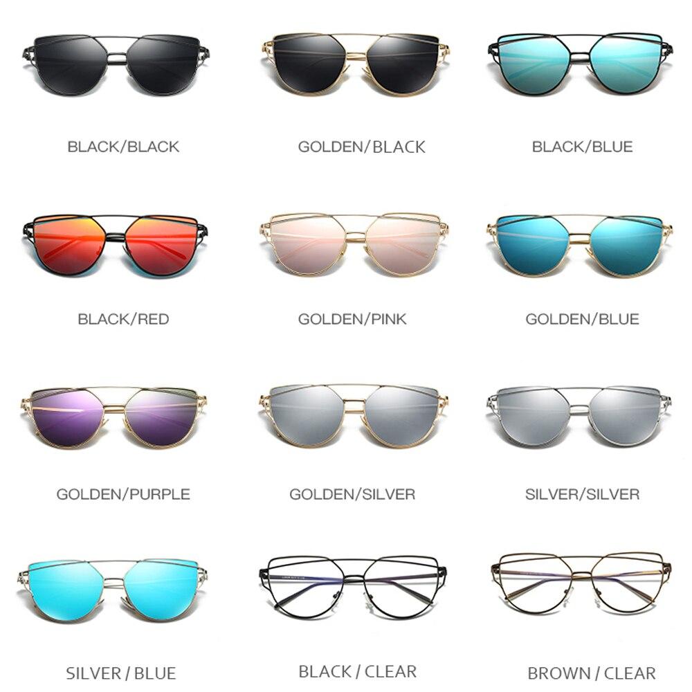 Cat Eye vintage Brand designer rose gold mirror Sunglasses For Women Metal Reflective flat lens Sun Glasses Female oculos 2019