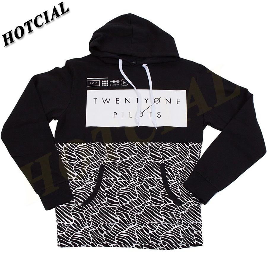 Sweatshirts Fashion Men Patchwork 2016 Spring Twenty One Pilots Half Pattern Pullover Print Black Plus Size Casual Hoodie