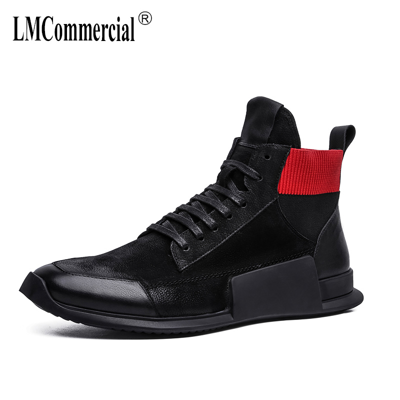 autumn winter British retro men shoes all-match cowhide cashmere Genuine Leather men's casual boots Martin boots Chelsea boots 2017 new autumn winter british retro men shoes zipper leather breathable sneaker fashion boots men casual shoes handmade