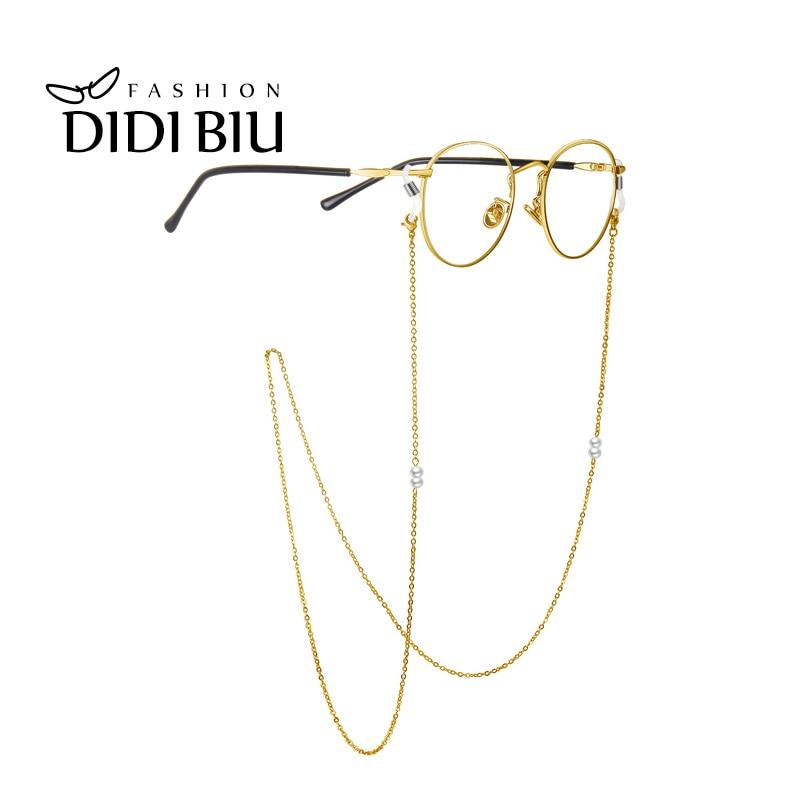 DIDI Pearl Eyeglasses Chain Reading Glasses Neck Strap Gold Metal ...