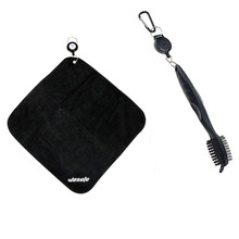 Golf Towel Brush tool Kit with Club Groove Cleaner, Retractable Extension Cord and Clip free shipping
