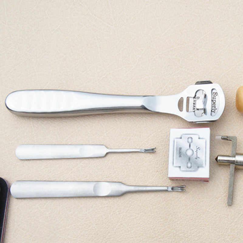 18 Buah Kerajinan Kulit Punch Alat Kit Set Jahitan Ukiran Bekerja Jahit Pelana Groover Alat Kerajinan Kulit Set Kit Couro alat
