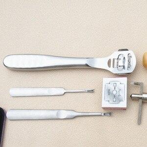 Image 5 - 18Pcs Leather Craft Punch Gereedschap Kit Set Stiksels Carving Werken Naaien Zadel Groover Leer Hobbygereedschappen Set Kit Couro tool