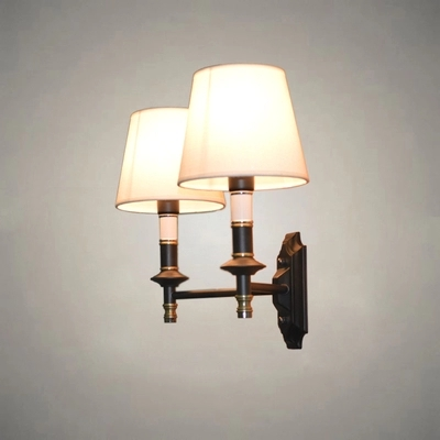 Cloth Lamps Shade Double Modern Wall Lamp American LED Wall Light Fixtures For Indoor Home Lighting Bedside Wall Sconce Lampara post modern wall lamp indoor lighting bedside lamps wall lights for home creative modern wall sconce
