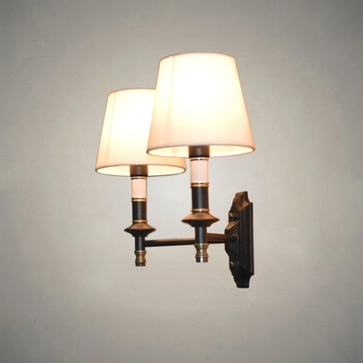 Cloth lamps shade double modern wall lamp american led wall light cloth lamps shade double modern wall lamp american led wall light fixtures for indoor home lighting aloadofball Choice Image