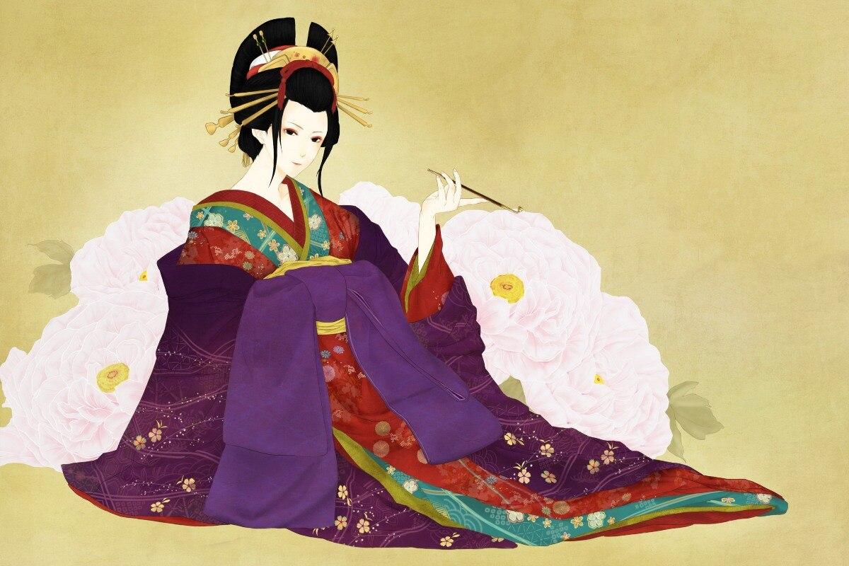 canvas fabric poster custom print (frame available) geisha with ...