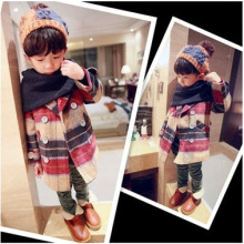 Autumn Promotion Woolen O-neck Full Plaid Boys Fashion And Winter Wear 2016 New Korean Tartan Coat Children Baby Long Oc1015
