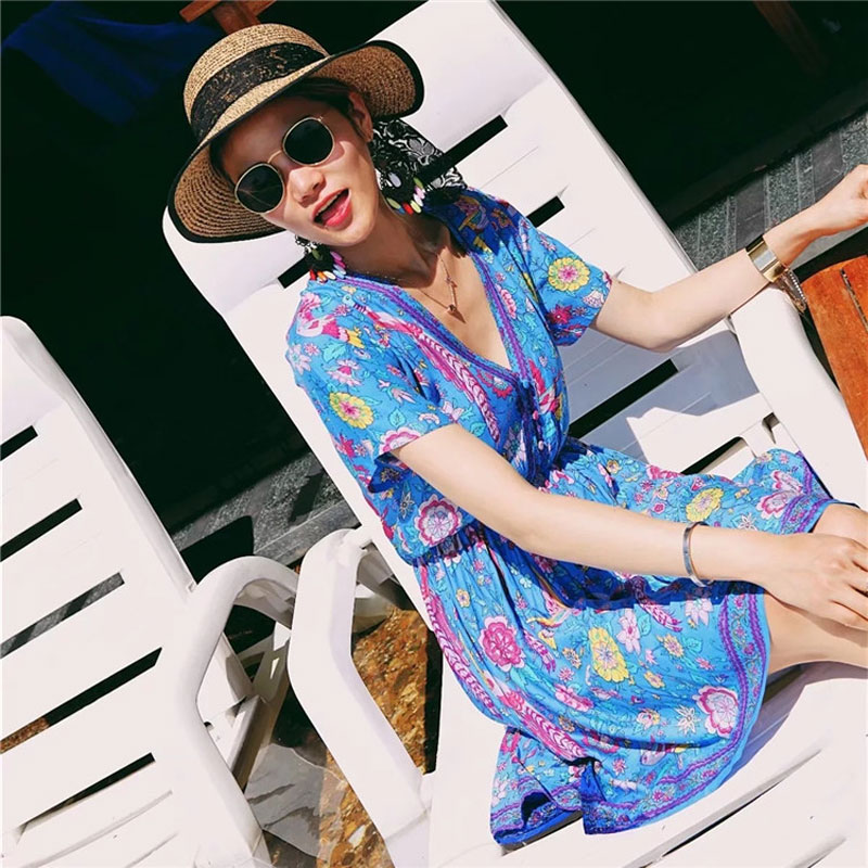 74e067a3b76 Boho Dress Blue Lovebird Floral Print Mini Chic Dress 2019 New Summer  Dresses Hippie Bohemia Casual Beach Dress Women Vestidos-in Dresses from  Women s ...