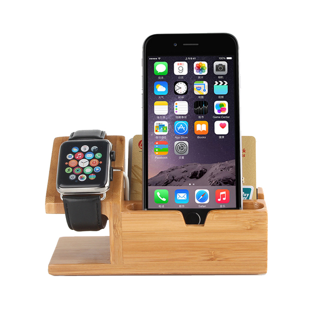 Nueva 2 en 1 de madera de bambú titular de cargador con cable usb para iphone 6 y 6 plus/iphone 5 & 5s & 5c/apple watch 38mm y 42mm