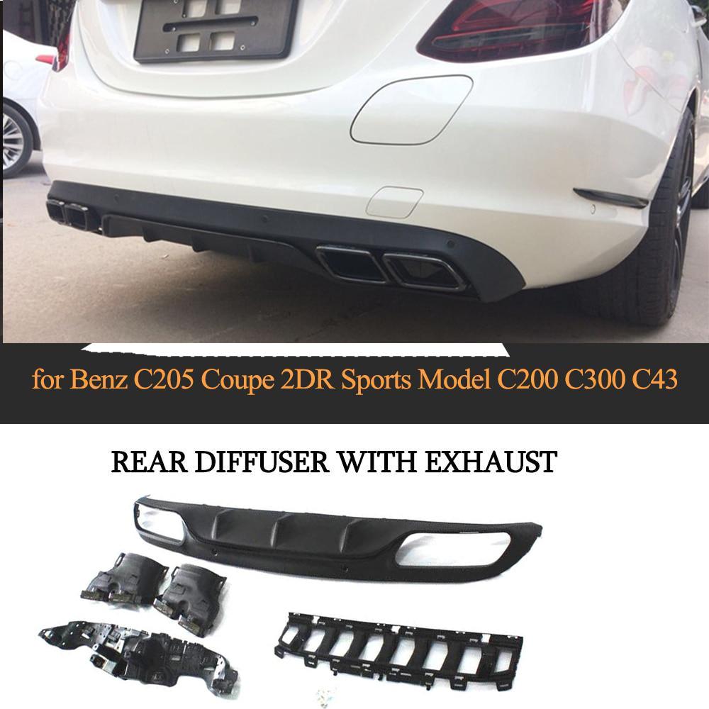 Becquet de lèvre de diffuseur arrière de voiture de Style C63 pour Mercedes Benz W205 coupé 2 portes C200 C300 C43 AMG avec embouts d'échappement accessoires de voiture