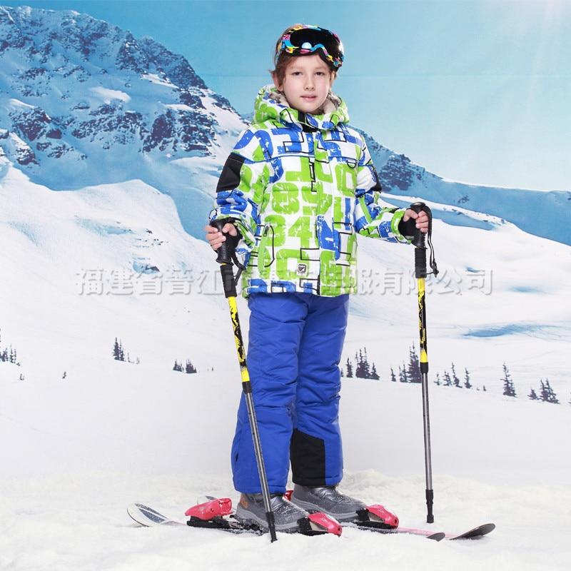 c7347cd6e773 Skiing jacket+pant snow suit fur lining 20 DEGREE ski suit kids ...